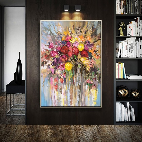 Hand-made Abstract Flower Rose Oil Painting